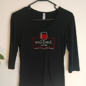 Red wine bling shirt v neck size small